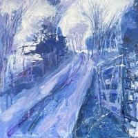 Landscape Painting – Blue Awakening – Acrylic Artwork by Leatherhead Art Club member Anne Winstanley Wood