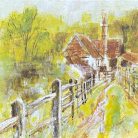 Painting of Farley Green, Surrey Hills – Place to Remember – East Horsley Landscape Artist Anne Winstanley Wood