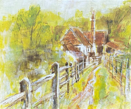 Painting of Farley Green, Surrey Hills - Place to Remember - Horsley Landscape Artist Anne Winstanley Wood