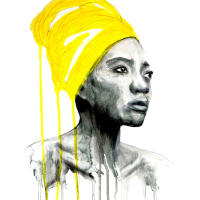 Portrait of Woman in Yellow Turban – Watercolour, Acrylic & Pastel Art – Guildford Surrey Contemporary Artist Aly Lloyd – Paradox