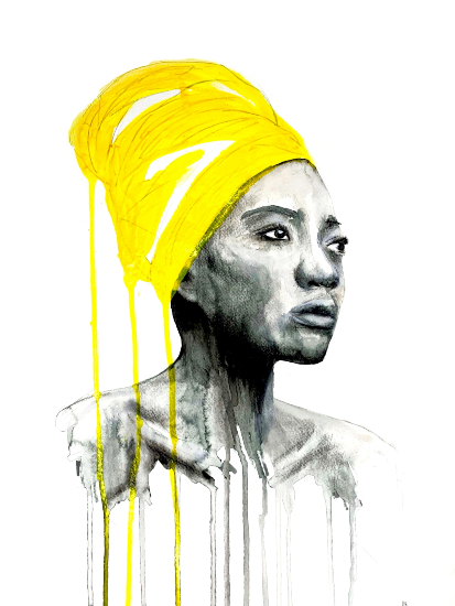 Portrait of Woman in Yellow Turban - Watercolour, Acrylic & Pastel Art - Guildford Surrey Contemporary Artist Aly Lloyd