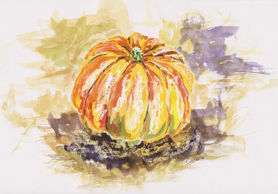 Pumpkin - Autumn Still Life - Woking Art Society member Carla Scarano