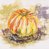 Pumpkin – Autumn Still Life – Woking Art Society member Carla Scarano