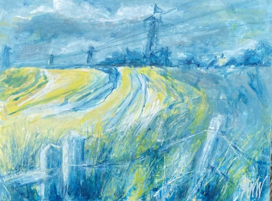 South Downs England - Original Acrylic and Ink Painting -Leatherhead Art Group member Anne Winstanley Wood