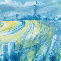 South Downs England – Original Acrylic and Ink Painting – Leatherhead Art Group member Anne Winstanley Wood