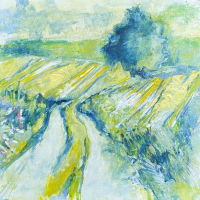 South Downs England – Sun-Kissed Landscape – Acrylic Artwork by Anne Winstanley Wood