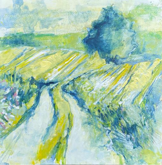 South Downs England - Sun-Kissed Landscape - Acrylic Artwork by Anne Winstanley Wood