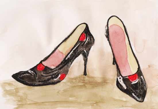 Vintage Old Shoes - Still-Life by Chobham Surrey Artist Carla Scarano