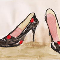 Vintage Old Shoes – Still-Life by Woking Art Society member Carla Scarano