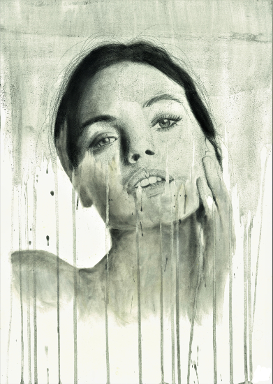 Woman's Portrait in Ink, Graphite & Pastel - Contemporary Guildford Artist Aly Lloyd