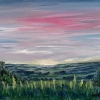 Dusky Pink Sky and Fields – Shere Landscape Artist Larisa Han