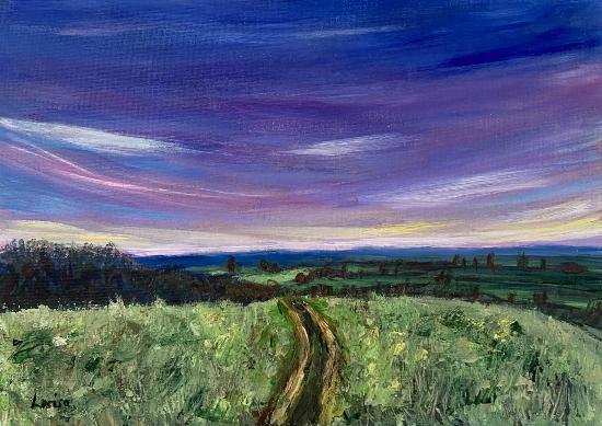 Fields and Sky Horizon - Shere Surrey Landscape Artist Larisa Han