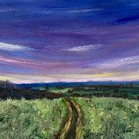 Fields and Sky – Sunset – Shere Surrey Landscape Artist Larisa Han