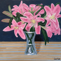 Pink Lilies – Shere Surrey Acrylic Still Life and Floral Artist Larisa Han