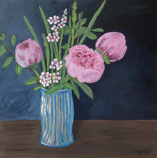 Pink Peonies in Blue Vase - Still-Life Floral Artist Larisa Han from Shere Surrey