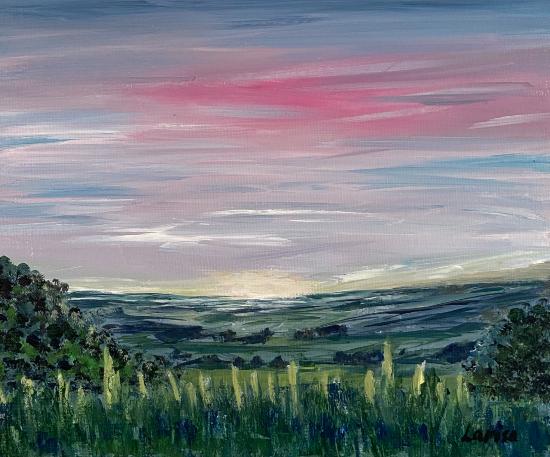 Sky - Dusky Pinks - Shere Landscape Artist Larisa Han
