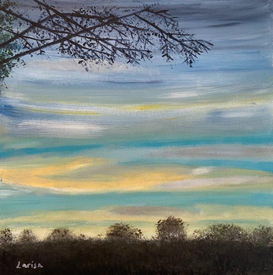Sunset Sky - Shere Surrey Landscape Artist Larisa Han