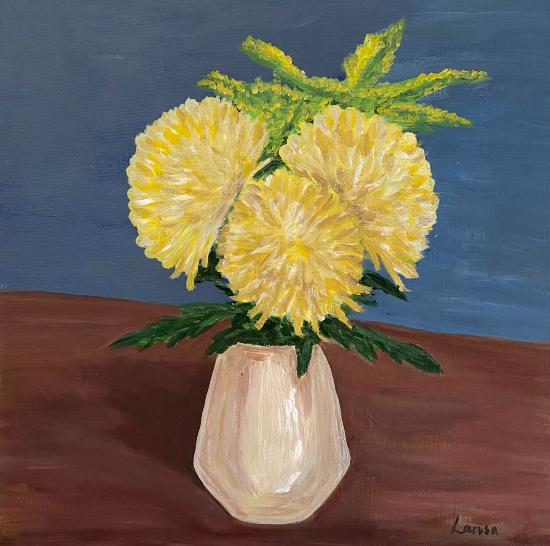 Yellow Chrysanthemum Blooms - Shere Still-Life and Floral Artist Larisa Han