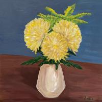Yellow Chrysanthemum Blooms in Vase – Shere Still-Life and Floral Artist Larisa Han